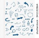 hand drawn arrows. doodle... | Shutterstock .eps vector #341132864