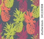 seamless pattern with pineapple | Shutterstock .eps vector #341133308