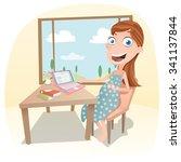 cartoon pregnant woman working... | Shutterstock .eps vector #341137844