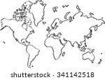 freehand world map sketch on... | Shutterstock .eps vector #341142518