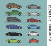 car set different color vector... | Shutterstock .eps vector #341156708