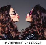 sisters twins in hipster sun... | Shutterstock . vector #341157224