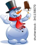 snowman and ice cream | Shutterstock .eps vector #341158070