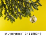 fir branch with a christmas... | Shutterstock . vector #341158349