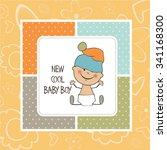 baby boy shower card  vector... | Shutterstock .eps vector #341168300