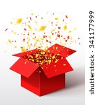 open red gift box and confetti. ... | Shutterstock .eps vector #341177999