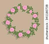 pink rose frame | Shutterstock .eps vector #341180738