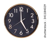 five hours on a round clock... | Shutterstock . vector #341184029