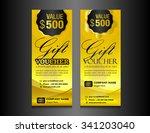 gold gift voucher vector... | Shutterstock .eps vector #341203040