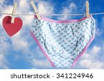 Stock photo love concept red heart and women s panties hanging on a clothesline against a blue sky image with 341224946