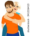 happy couple in love. joyful... | Shutterstock .eps vector #341226413