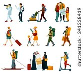 touristic people set with males ... | Shutterstock .eps vector #341238419