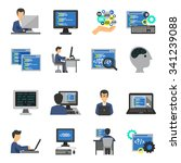 programmer and computer... | Shutterstock .eps vector #341239088