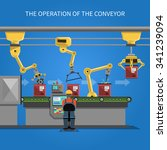 robot operation of the conveyor ... | Shutterstock .eps vector #341239094