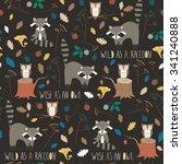 cute forest seamless pattern... | Shutterstock .eps vector #341240888