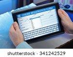 man filling out an application...   Shutterstock . vector #341242529