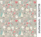 seamless pattern with cute... | Shutterstock .eps vector #341265758