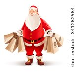 merry santa claus with shopping ... | Shutterstock .eps vector #341282984