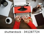 vintage red typewriter with... | Shutterstock . vector #341287724