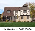 english tudor home with...   Shutterstock . vector #341290034
