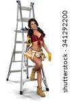 friendly hispanic young woman... | Shutterstock . vector #341292200