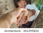 little girl hold hand with... | Shutterstock . vector #341295824