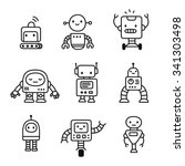 Cute Little Cartoon Robots Set...