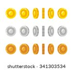 flat cartoon coins rotation...