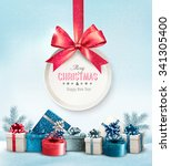 merry christmas card with a... | Shutterstock .eps vector #341305400