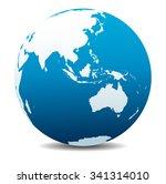 asia and australia  global world | Shutterstock .eps vector #341314010