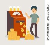 money machine creating money.... | Shutterstock .eps vector #341324360
