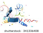 ribbon and confetti popping out ... | Shutterstock . vector #341336408
