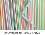 drinking straws with a blue and ... | Shutterstock . vector #341347829