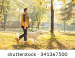 Stock photo profile shot of a young guy walking his dog in a park on a sunny autumn day 341367500