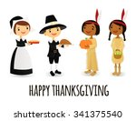 happy pilgrims and native... | Shutterstock .eps vector #341375540