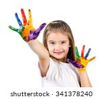 happy cute little girl with... | Shutterstock . vector #341378240