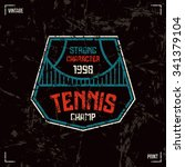 tennis badge. graphic design... | Shutterstock .eps vector #341379104