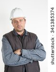 male construction worker over... | Shutterstock . vector #341385374