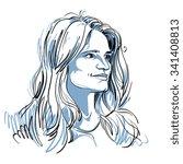 vector portrait of attractive... | Shutterstock .eps vector #341408813