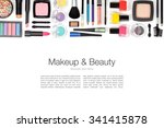 makeup cosmetics and brushes on ... | Shutterstock . vector #341415878