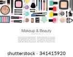 makeup cosmetics and brushes on ... | Shutterstock . vector #341415920