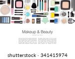makeup cosmetics and brushes on ... | Shutterstock . vector #341415974