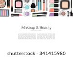 makeup cosmetics and brushes on ... | Shutterstock . vector #341415980