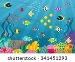 undersea  cartoon illustration... | Shutterstock .eps vector #341451293