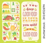 healthy eating background with... | Shutterstock .eps vector #341452694