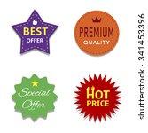 colorful price set premium... | Shutterstock . vector #341453396