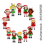 kids with christmas costume.... | Shutterstock .eps vector #341456930