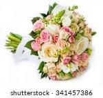 close up of bridal bouquet in... | Shutterstock . vector #341457386
