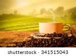 hot coffee cup and beans with... | Shutterstock . vector #341515043