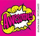 """pop art comics icon """"awesome """". ... 